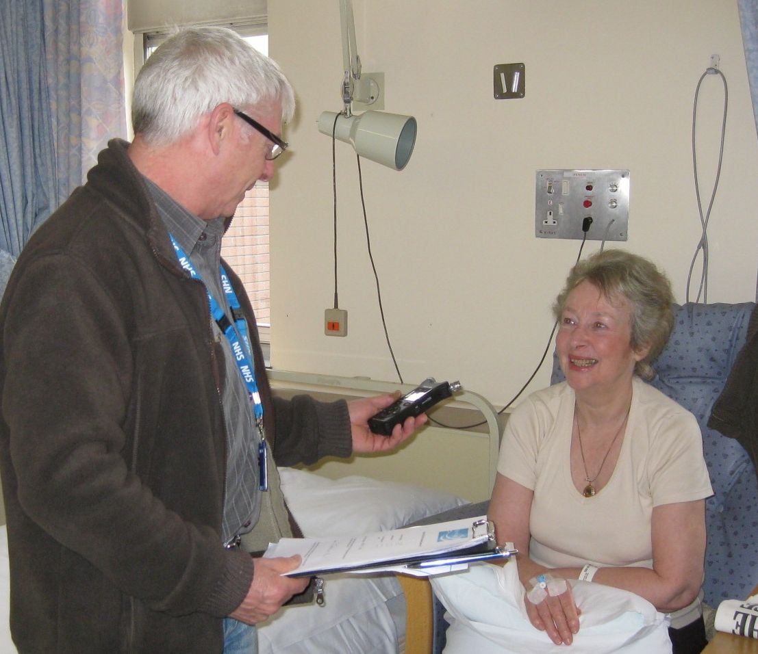 Volunteer Rob chats to patient
